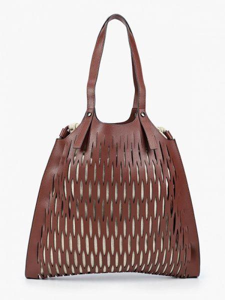 Коричневая кожаная сумка из искусственной кожи Ekonika