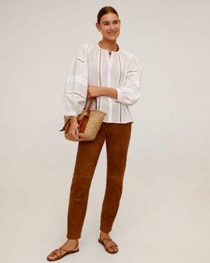 Блузка с длинным рукавом с рукавом фонарик с вырезом Mango