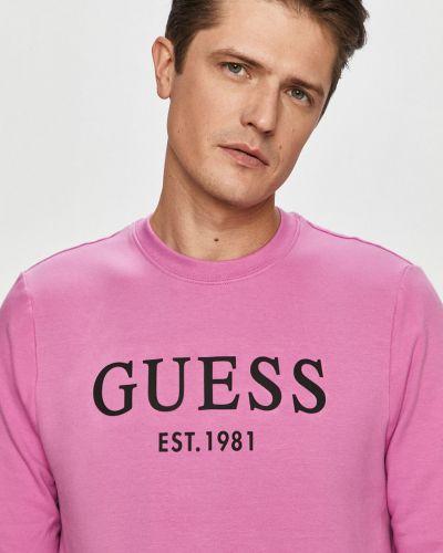 Różowa bluza z kapturem bawełniana Guess