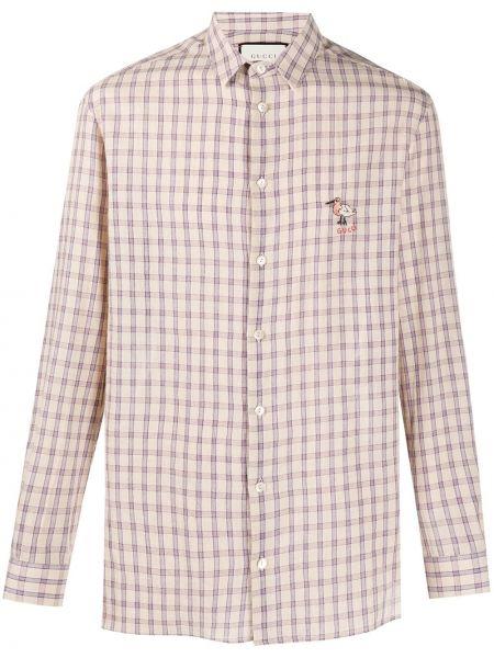Klasyczny beżowy klasyczna koszula z kołnierzem z haftem Gucci