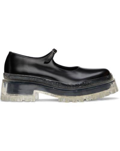 Czarne loafers skorzane klamry Marc Jacobs