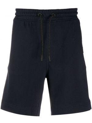 Синие хлопковые спортивные шорты с карманами Boss Hugo Boss
