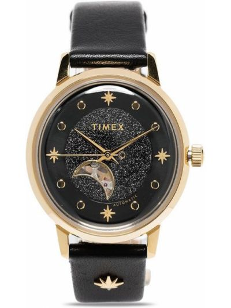 Z paskiem skórzany czarny zegarek na skórzanym pasku okrągły Timex