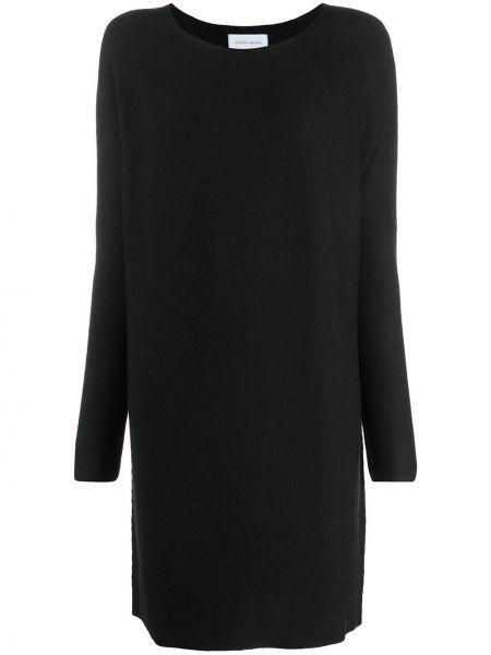 Шерстяное черное платье с вырезом трапеция Christian Wijnants