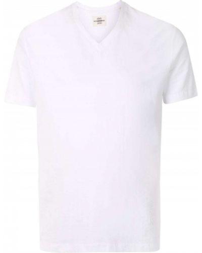 Хлопковая прямая приталенная футболка с V-образным вырезом Kent & Curwen