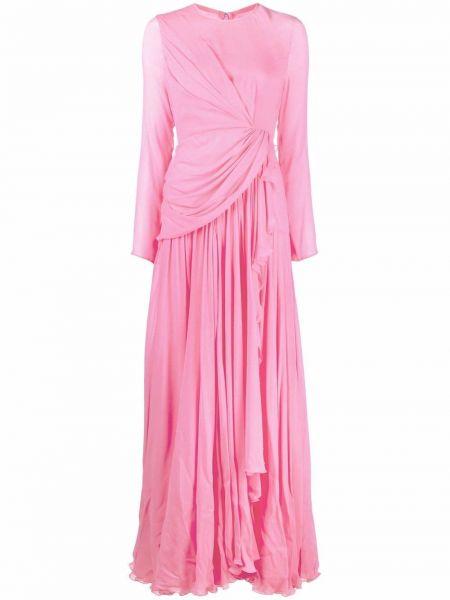 Różowa sukienka długa z jedwabiu Giambattista Valli