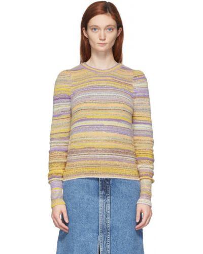 Желтый длинный свитер в полоску с воротником Marc Jacobs
