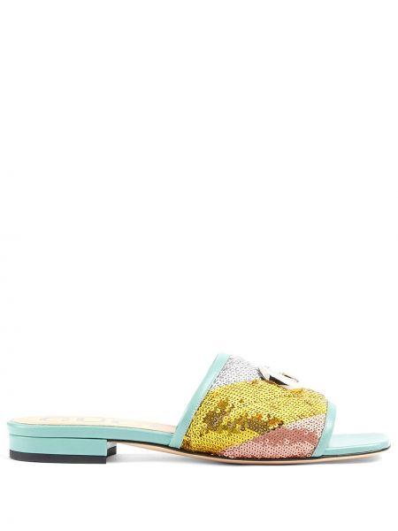 Otwarty skórzany niebieski sandały otwarty palec u nogi Gucci