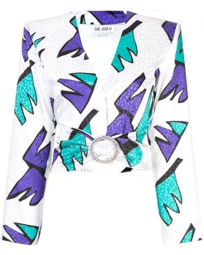 Блузка с длинным рукавом с V-образным вырезом белая Attico