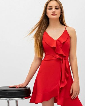 Однобортное красное платье Itelle