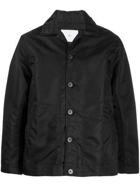 Czarna długa kurtka z nylonu z długimi rękawami Goodfight