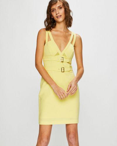 Облегающее желтое платье мини закрытое Guess Jeans