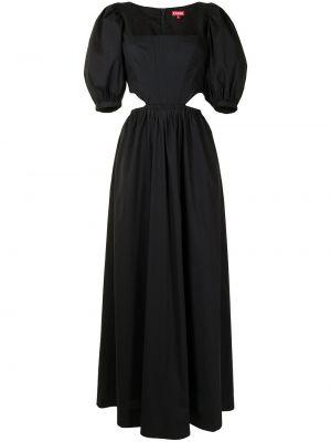 Хлопковое черное платье мини с вырезом Staud