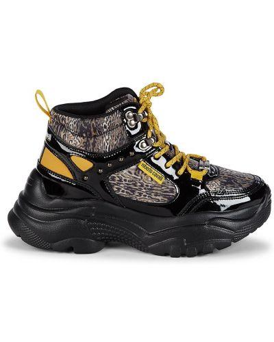 Czarne sneakersy koronkowe sznurowane Roberto Cavalli Sport