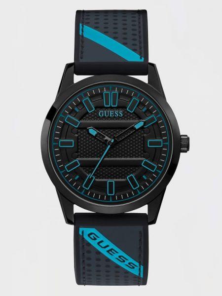 Czarny zegarek srebrny z paskiem Guess