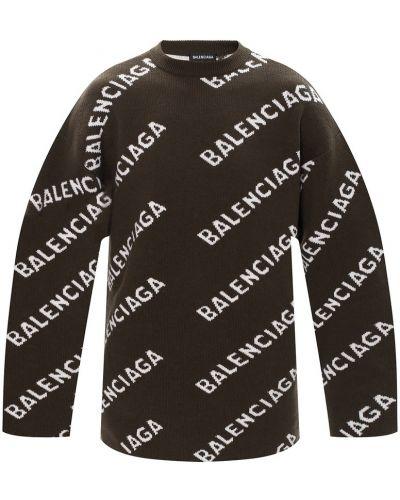 Zielony sweter z haftem Balenciaga