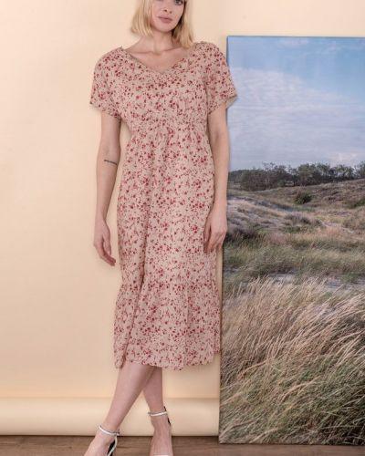 Бежевое платье с V-образным вырезом Mr520