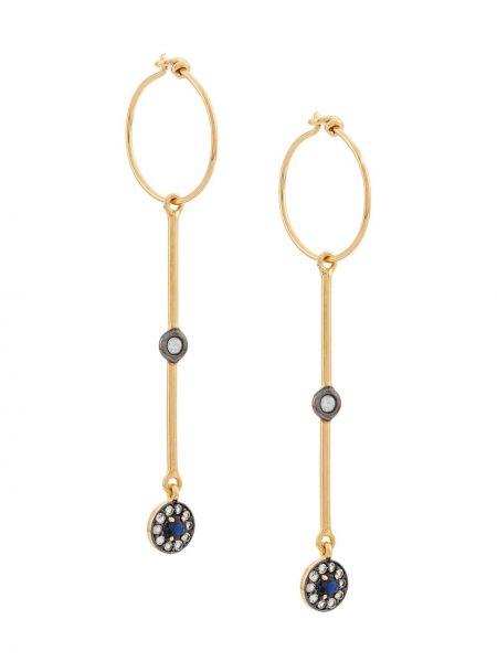 Желтые серебряные серьги круглые c сапфиром позолоченные Eye M By Ileana Makri