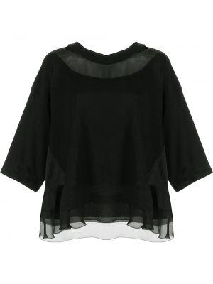 Шелковая черная блузка с короткими рукавами Undercover