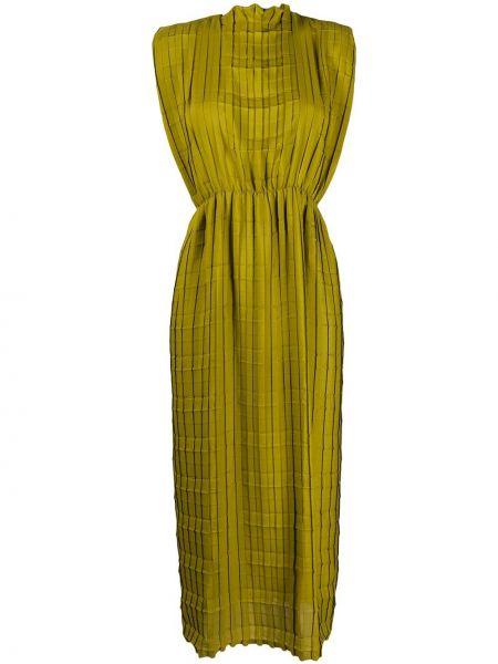 Зеленое плиссированное платье без рукавов Tela