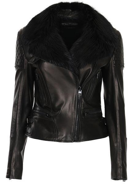 Кожаная куртка на молнии с карманами Tom Ford