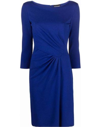 Синее платье с вырезом Emporio Armani