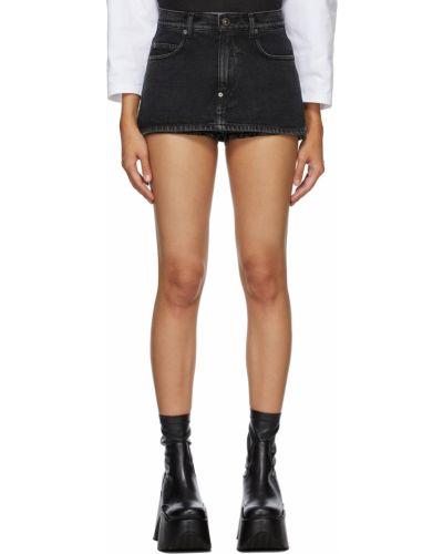 Czarna spódnica jeansowa z paskiem skórzana Pushbutton