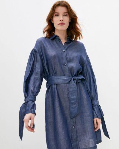 Синее платье-рубашка Emporio Armani