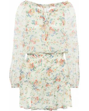 Белое шелковое платье мини с оборками свободного кроя Loveshackfancy
