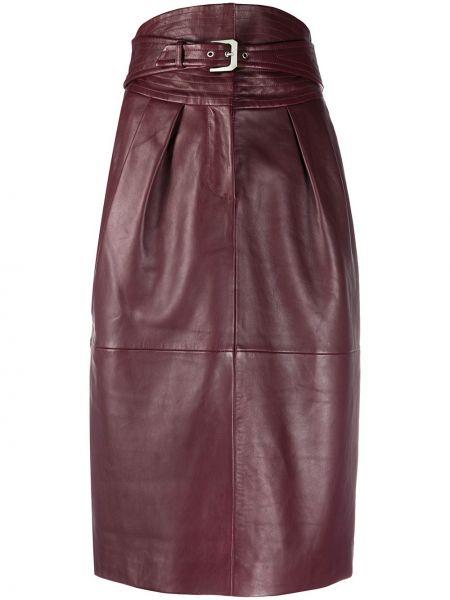 Красная с завышенной талией юбка миди из овчины с пряжкой Alberta Ferretti