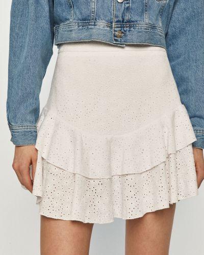 Biała spódnica mini z falbanami dzianinowa Guess