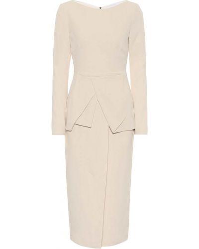 Белое миди платье с жемчугом из вискозы Roland Mouret