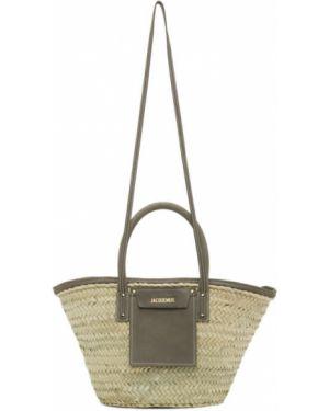 Кожаная сумка соломенная бежевый Jacquemus