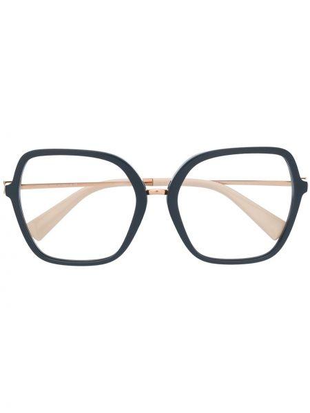 Золотистые очки хаки оверсайз Valentino Eyewear
