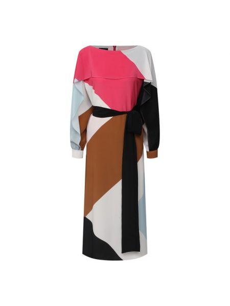 Шелковое розовое платье с подкладкой Escada