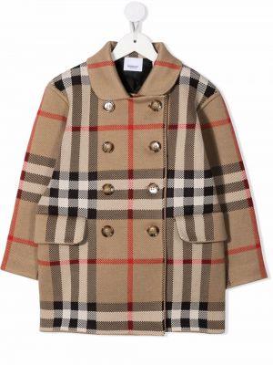 Beżowy płaszcz dwurzędowy wełniany Burberry Kids