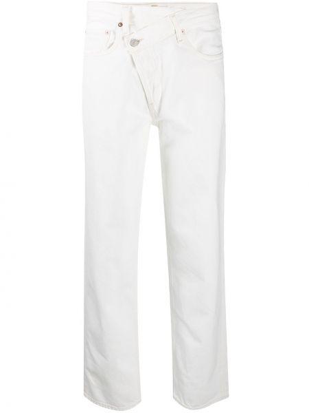 Bawełna biały jeansy o prostym kroju z kieszeniami z łatami Agolde