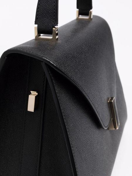 Czarna torba na ramię skórzana Valextra