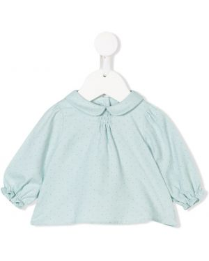 Расклешенная синяя блуза Knot