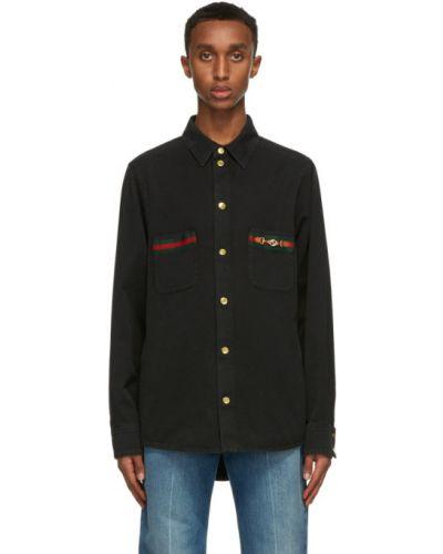 Bawełna z rękawami czarny koszula jeansowa z mankietami Gucci
