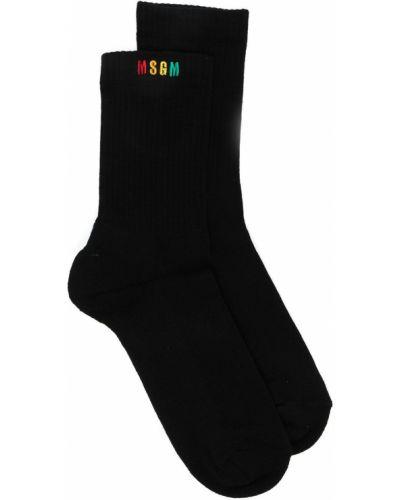 Хлопковые черные носки с вышивкой Msgm