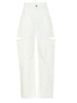 Хлопковые прямые белые джинсы Maison Margiela