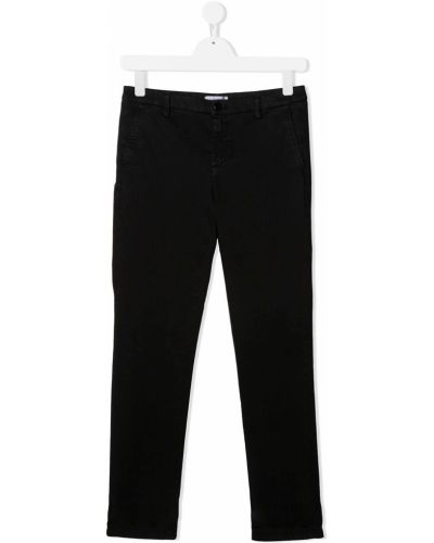 Хлопковые прямые черные прямые брюки на молнии Dondup Kids