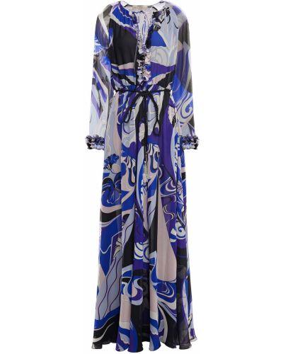 Шелковое синее платье макси с подкладкой Emilio Pucci