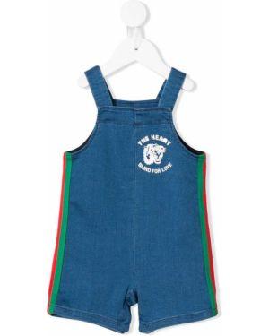 Комбинезон синий с логотипом Gucci Kids