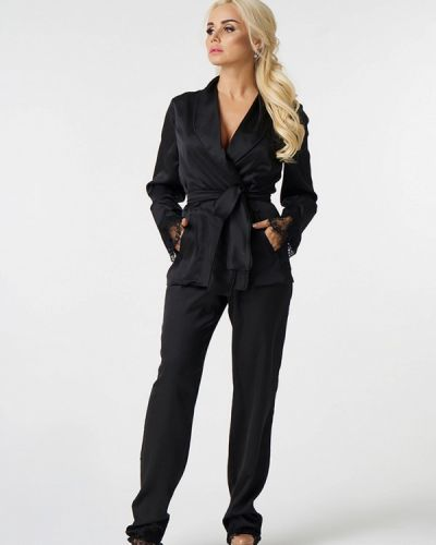 Облегающий черный брючный костюм Luxlook