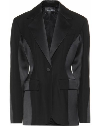 Однобортный черный пиджак Mugler
