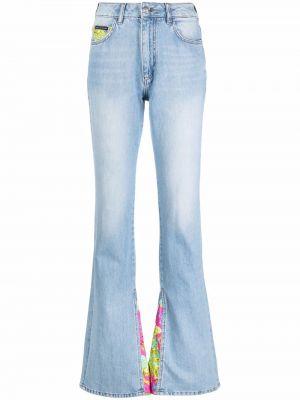 Синие джинсы с высокой посадкой на молнии Philipp Plein