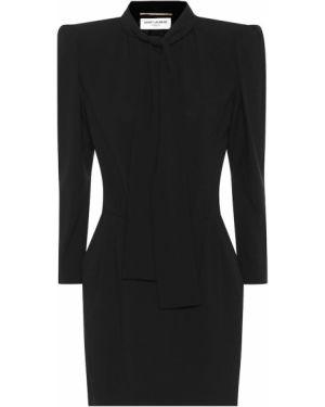 Платье мини черное Saint Laurent