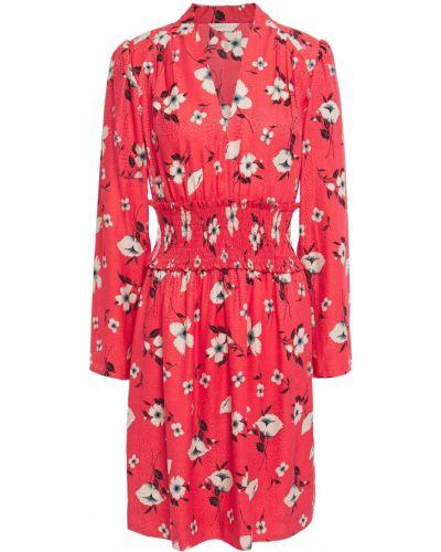 Sukienka mini z jedwabiu zapinane na guziki z printem Rebecca Taylor